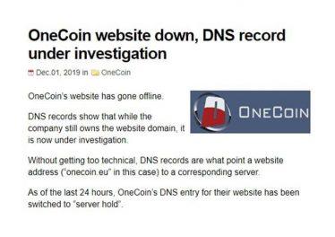 Сайт OneCoin отключен, запись DNS находится под следствием