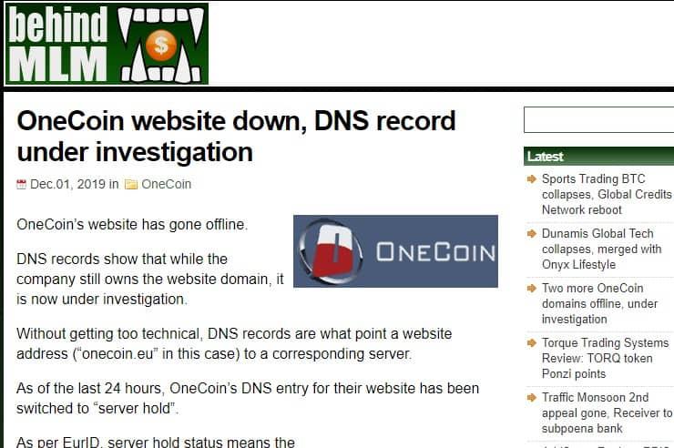 Сайт OneCoin отключен